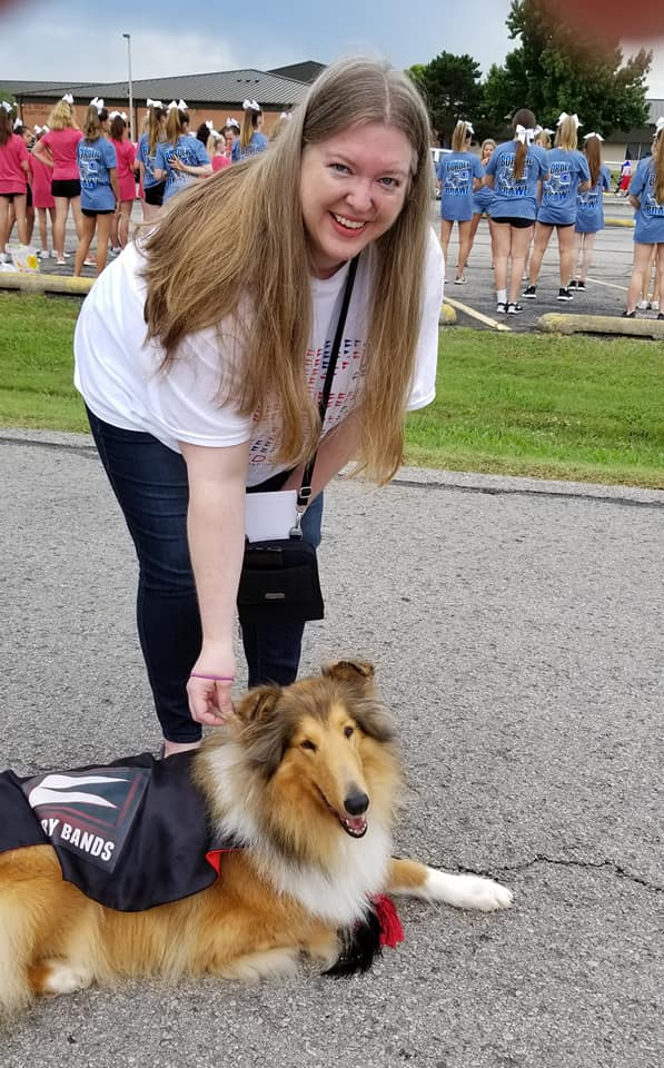 Our BBPO Student Accounts Chair Mrs. Cooper and Jazz the Band Dog