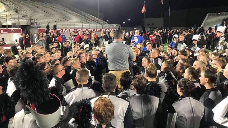2018 Mr. Parker talking to Band after Owasso